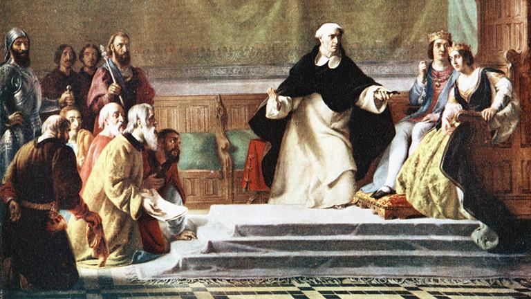 Männer mit Bart knieen vor einem Königspaar.
