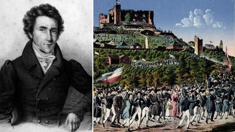 Philipp Jakob Siebenpfeiffer, einer der geistigen Väter des Hambacher Festes und eine Postkarte vom Zug auf das Schloss 1832.