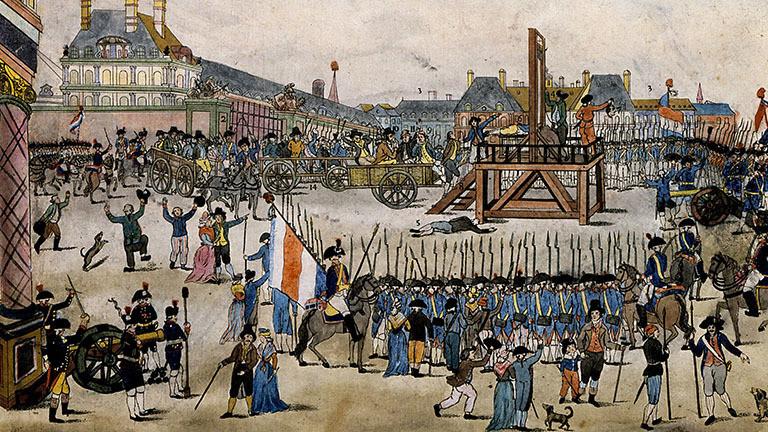 Ausschnitt aus einer zeitgenössischen Lithographie von de Vinck über die Hinrichtung von Maximilien Robespierre.