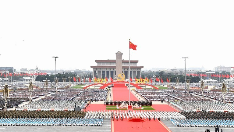 Feierlichkeiten auf dem Platz des Himmlischen Friedens zur Feier des 100-jährigen Bestehens der Kommunistischen Partei Chinas.