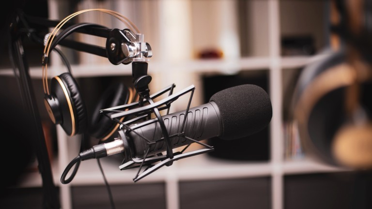 Mikrofon in einem Radiostudio