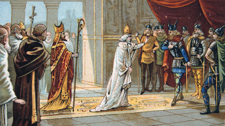 Pope Stephen II asking Pepin the Short for help against the Lombards