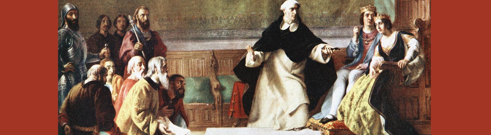 Männer mit Bart knieen vor einem Königspaar