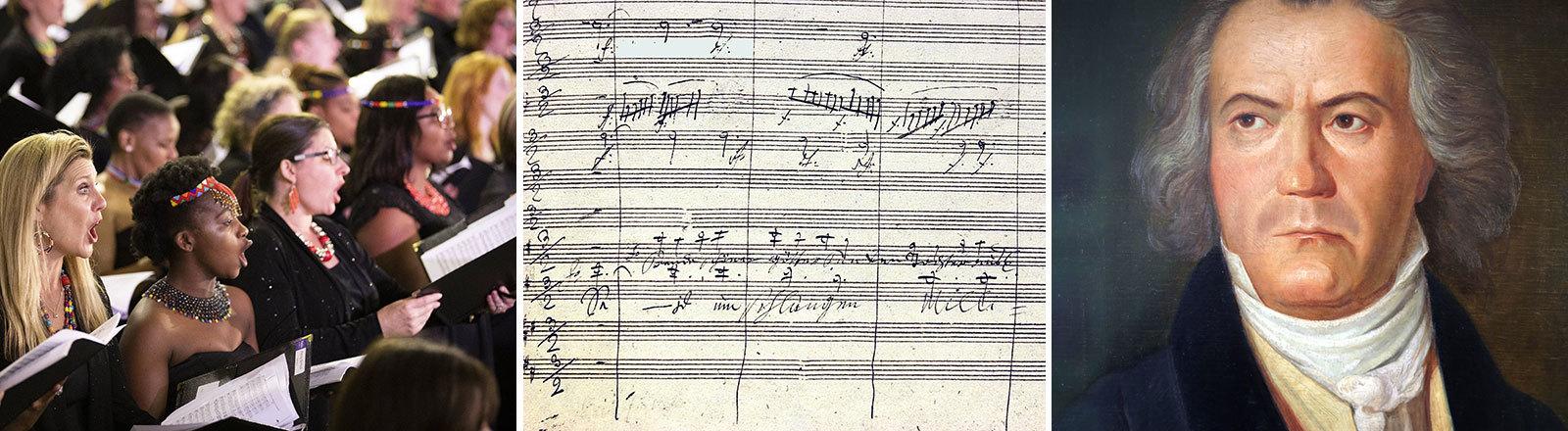 Ein Chor sing Beethovens 9. Sinfonie