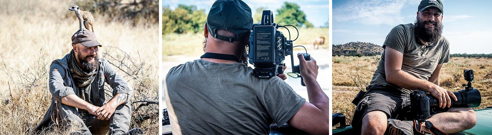 Der Wildtier-Fotograf Christoph Tänzer: Mit Erdmännchen auf dem Kopf, beim Fotografieren eines Löwen, lächelnd mit Kamera auf dem Schoß