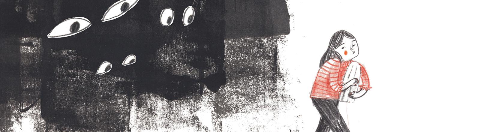 Szene aus dem Comic: Mädchen mit Tampon