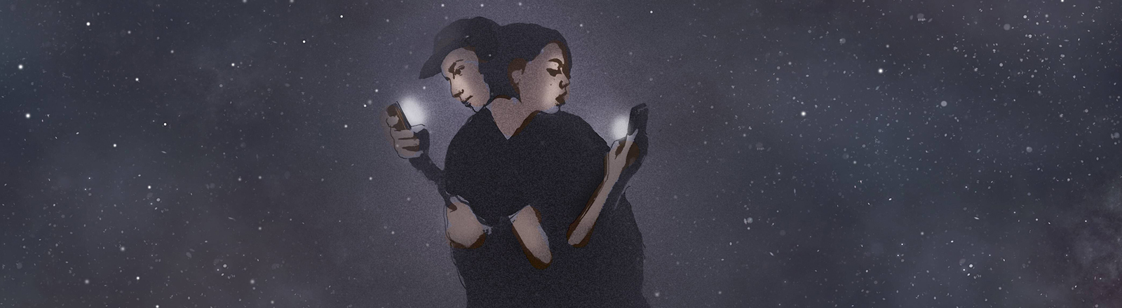 Ein Paar umarmt sich, jeder schaut dabei auf sein Handy.