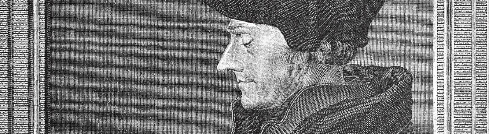 Desiderius Erasmus Roterodamus, 28. Oktober 1466 - 12. Juli 1536, bekannt als Erasmus oder Erasmus von Rotterdam, ein niederländischer Philosoph und christlicher Gelehrter / digitale Reproduktion einer Originalvorlage aus dem 19. Jahrhundert, (Originaldatum nicht bekannt)