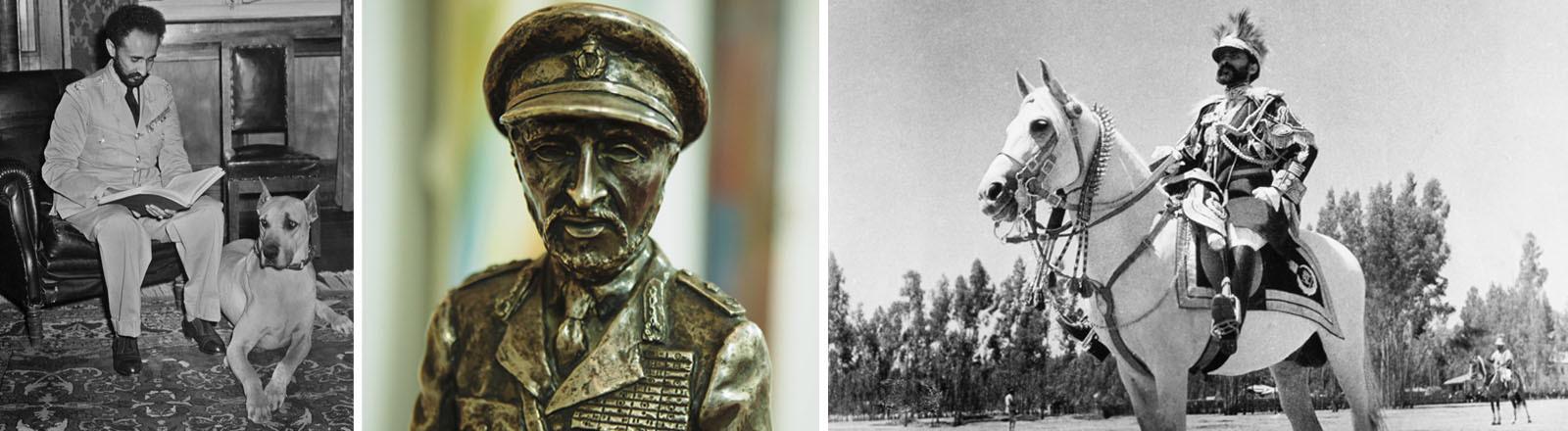 Kaiser Haile Selassie von Abessinien (mit Hund, als Statue, auf einem Pferd)