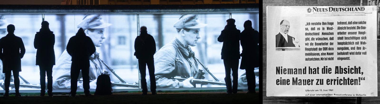 Projektionen auf der Berliner Mauer zum 30 Jahrestag des Mauerfalls