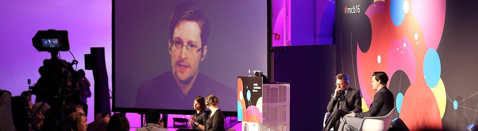 Edward Snowdon per Videokonferenz auf der re:publica