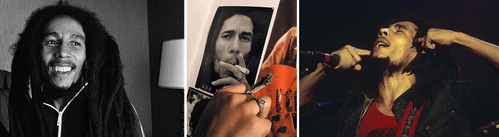 Collage von Bob-Marley-Bildern, beim Konzert, im Porträt, beim kiffen.