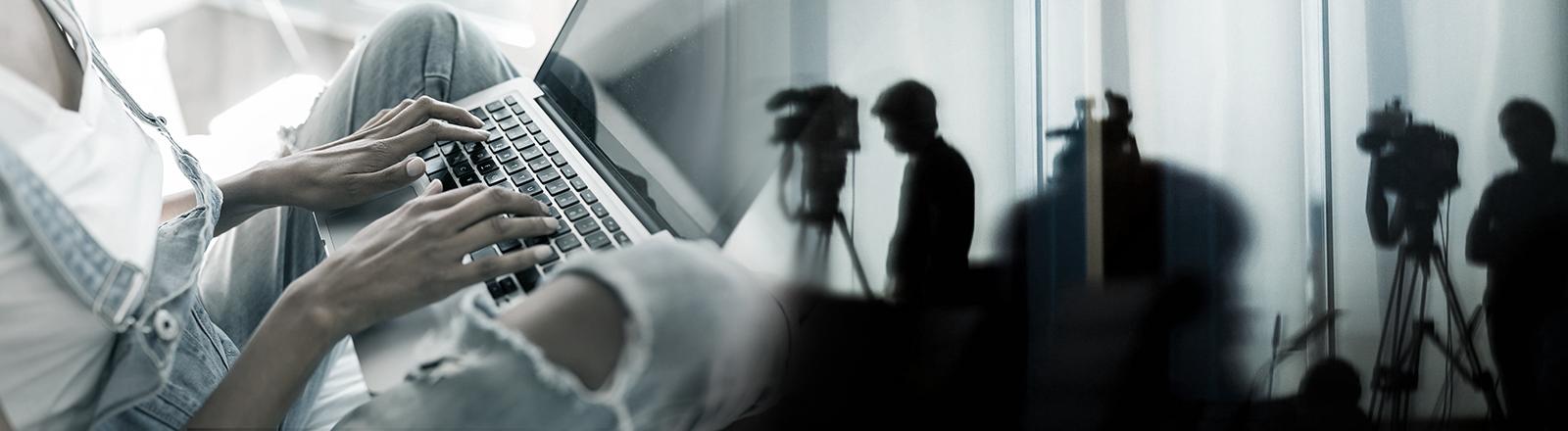 Collage: Frauenhände, die auf einer Laptoptastatur tippen und Journalisten mit Kameras im Gegenlicht