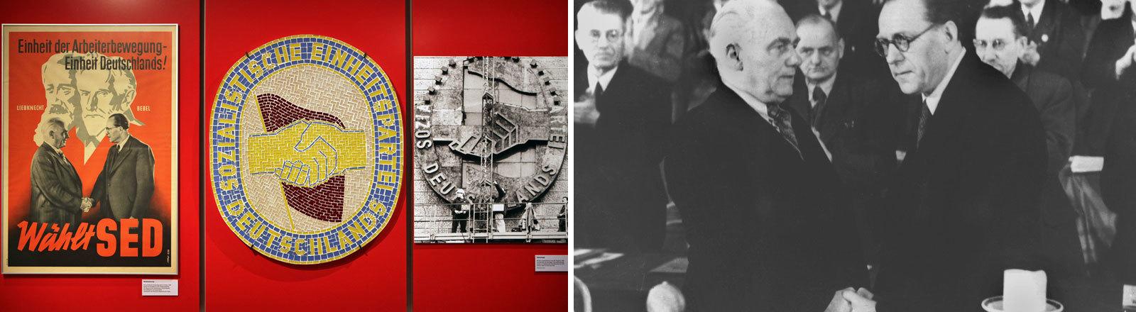 Verschiedene Devotionalien und ein Foto zeigen den symbolischen Handschlag zwischen Wilhelm Pieck und Otto Grotewohl zur Gründung der SED (Solzialistische Einheitspartei Deutschlands)