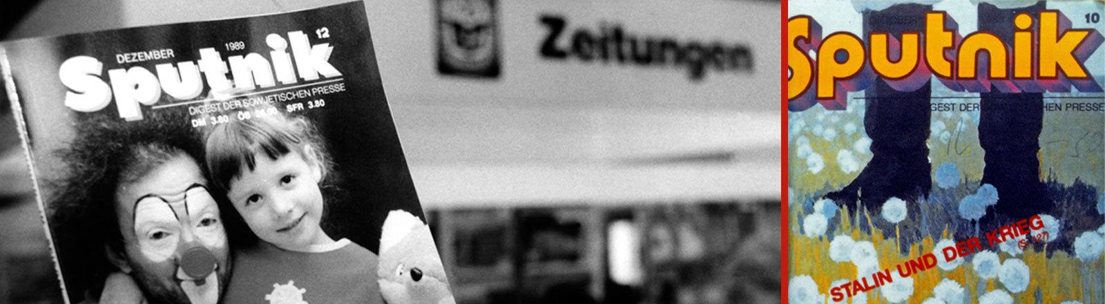 """Ein Clown und ein kleines Mädchen zieren das Titelblatt der Dezemberausgabe 1989 des deutschsprachigen, sowjetischen Nachrichtenmagazins Sputnik, daneben eine andere Ausgabe mit dem Titel """"Stalin und der Krieg"""""""