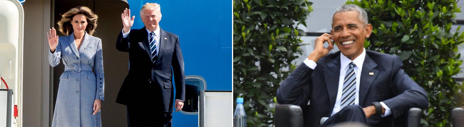 Donald und Melania Trump bei der Ankunft in Brüssel |rechts im Bild: Barack Obama beim evangelischen Kirchentag in Berlin