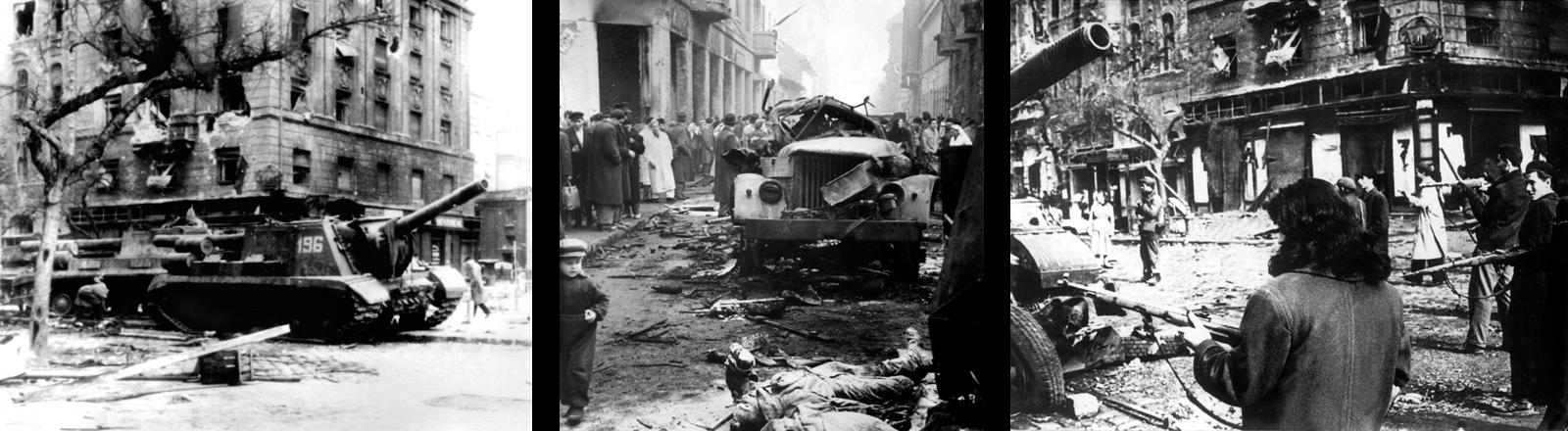 Panzer in den Straßen, Tote, zerstörte Häuser