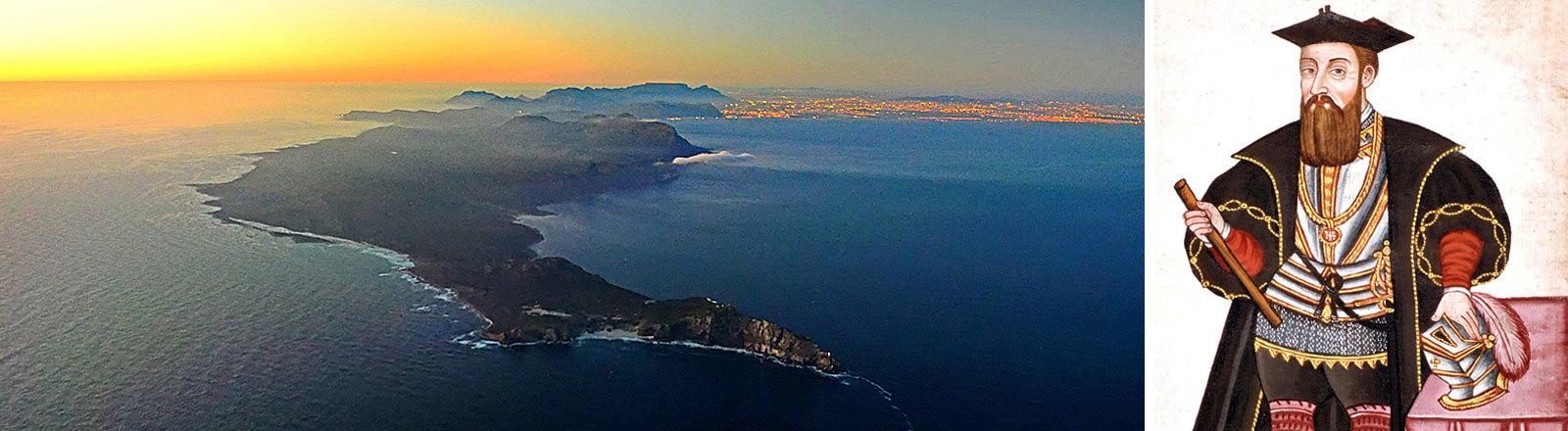 Blick auf das Kap der guten Hoffnung und Kapstadt bei Sonnenuntergang / Gemälde von Vasco da Gama