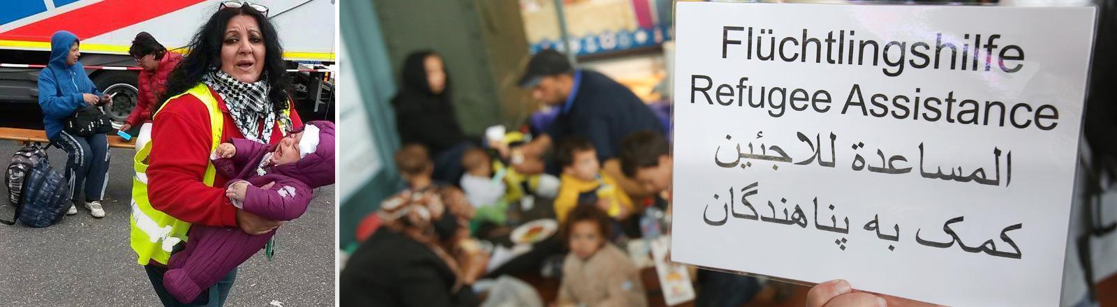 """Nawal trägt am Münchner Hauptbahnhof ein weinendes Kind im Arm. Daneben ein Bild, dass eine Tafel zeigt auf der """"Flüchtlingshilfe"""" steht."""