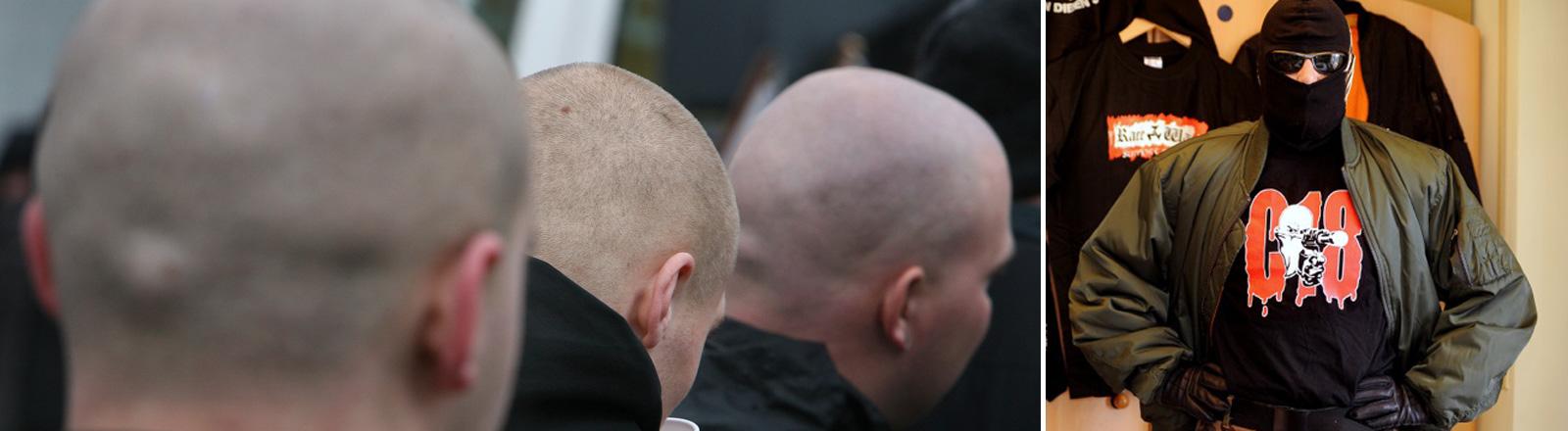 Naziglatzen von hinten und ein Bild von Thomas Kuban in Naziverkleidung.
