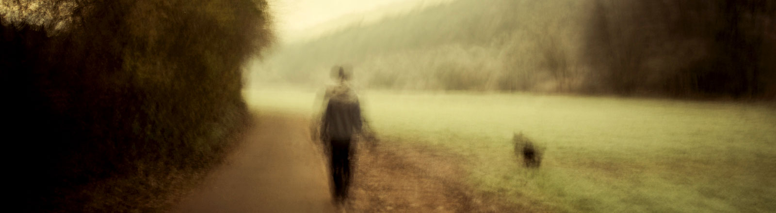 Eine Person geht alleine über einen Weg mit einem Hund an der Leine. Das Bild ist sehr verschwommen.