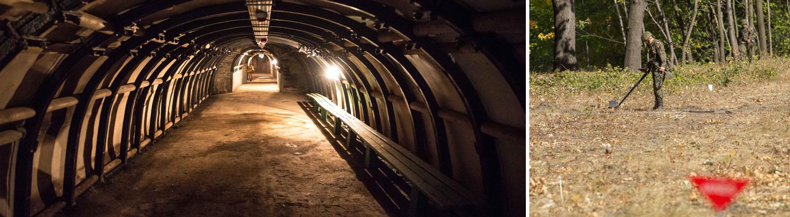 Ein alter Minentunnel in Walbrzych in Polen. Hier in der Nähe wird der Goldzug vermutet. Daneben ein Mann mit Suchgerät.