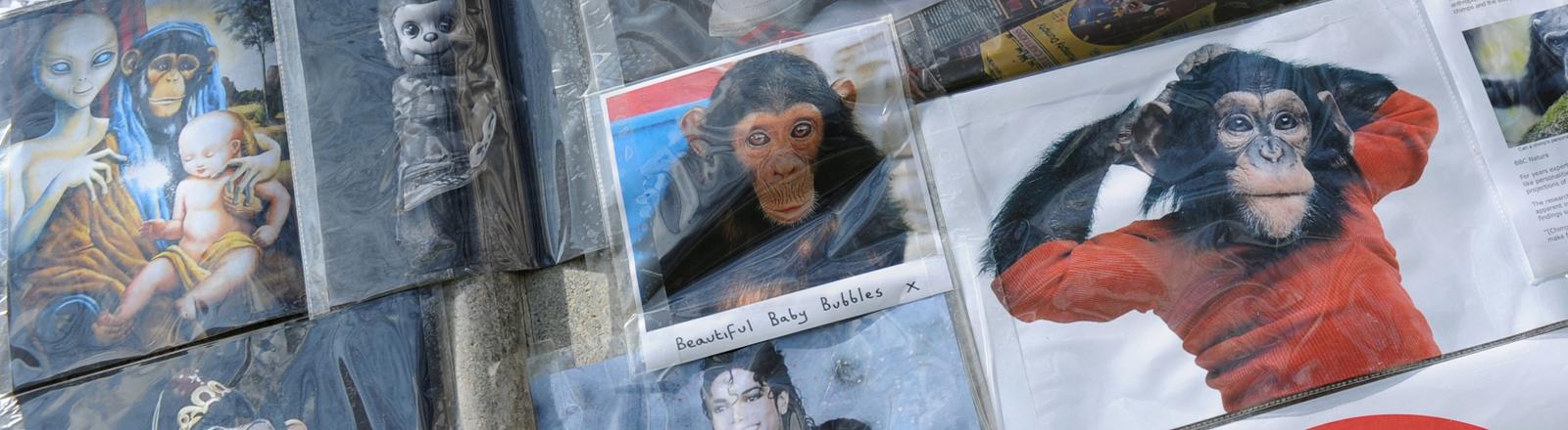 Ein Foto von Bubbles an einem Denkmal für den Affen von Michael Jackson