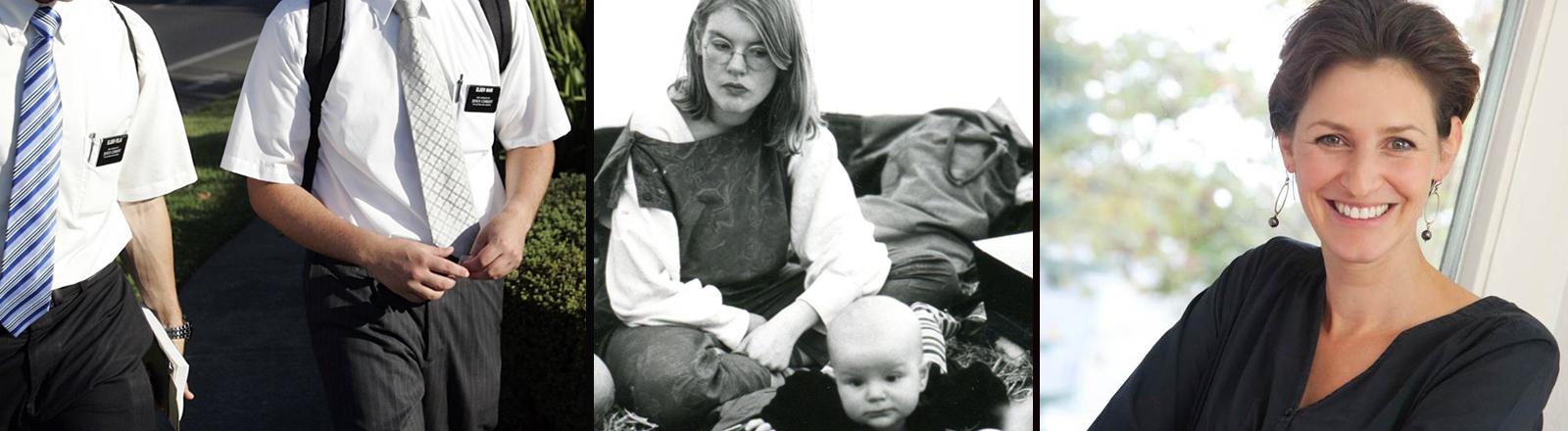 Zwei Mormonen auf Mission. Hanna mit ihrem Kind Jonny und Natalie Grams.