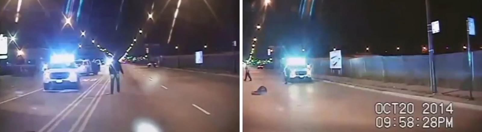 Polizeivideos zeigt wie der 17 Jahre alte Laquan McDonald am 25.10.2014 in Chicago, USA, von der Polizei erschossen wurde.