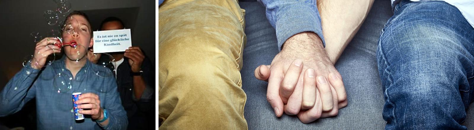 Links im Bild Protagonist Colin bläst Seifenblasen in die Luft, rechts ein sitzendes schwules Pärchen, das Händchen hält.