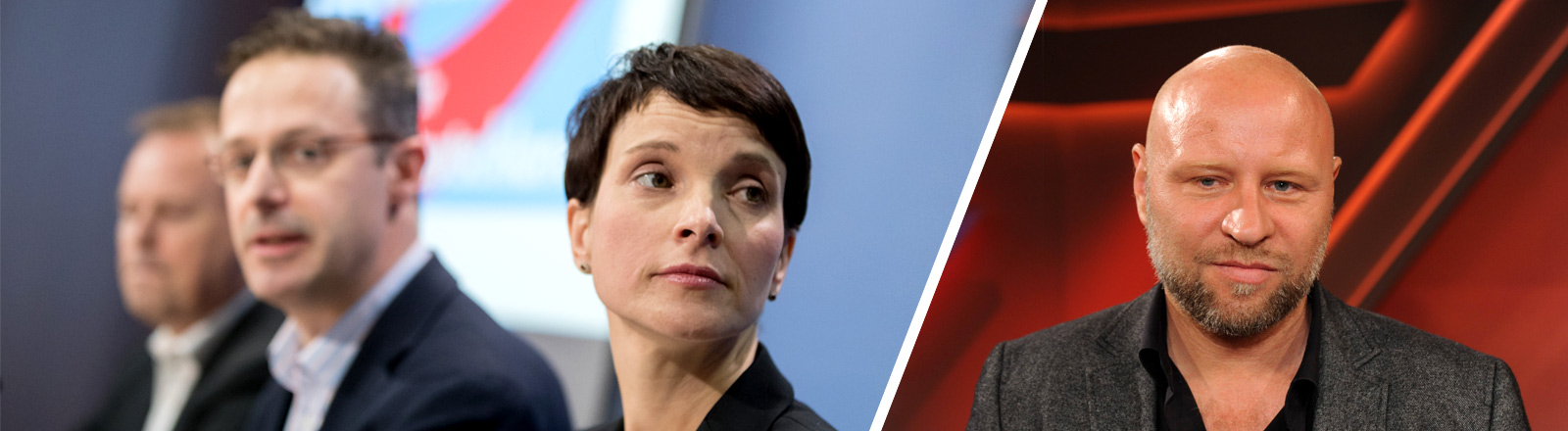 rechts Journalist Olaf Sundermeyer, links AfD-Politiker Frauke Petry und Marcus Pretzell