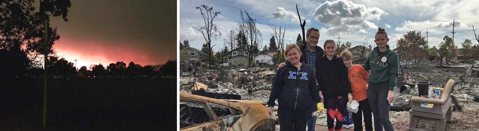 Flammen am Himmel über Santa Rosa, Kalifornien / Familie Mulder auf dem Schutt ihres Zuhauses