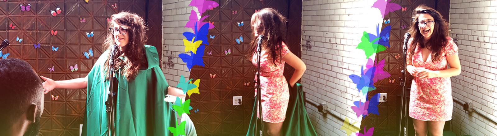 """Auf ihrer Mottoparty """"Schmetterlingsparty"""" wirft Danielle ihren Umhang ab."""