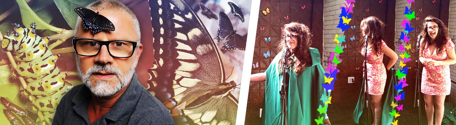 Collage: Schriftsteller Peter Henning mit einem Schmetterling und Danielle Thomson feiert eine Schmetterlingsparty.