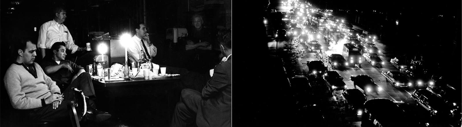 Eine schwarz-weiß Fotografie aus dem Jahr 1965: Menschen sitzen bei Kerzenschein und mit Getränken an einem Tisch. Auf einem zweiten Bild ist nur die Straße erleuchtet - von den Scheinwerfern der Autos. Ansonsten schwarze Nacht.
