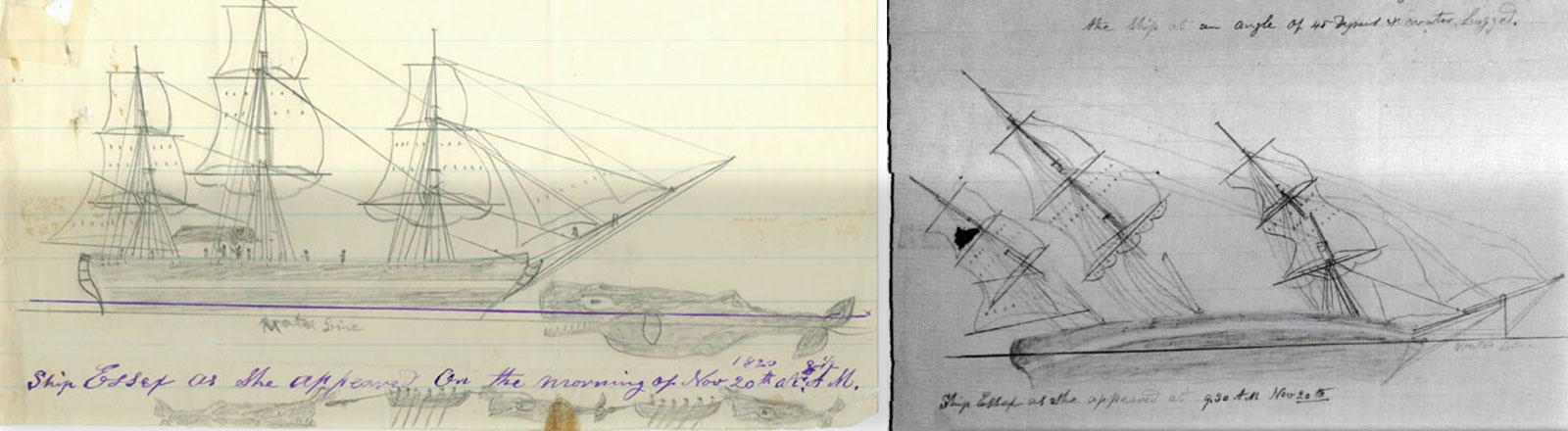 Skizzen vom Untergang der Essex, die der damalige Bootsjunge Thomas Nickerson gezeichnet hat.