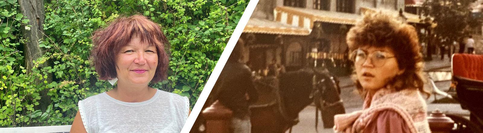 Collage aus zwei Fotos. Eine ältere Frau auf einer Bank und dieselbe Frau in jungen Jahren auf einer Party neben einem Mann.