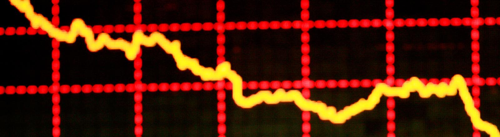 Ein fallender Börsenkurs