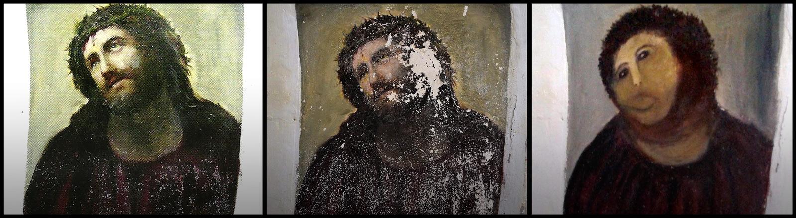 In Borja, Spanien, wurde ein altes Jesus-Fresko stümperhaft restauriert. Defacto ist es jetzt zerstört.