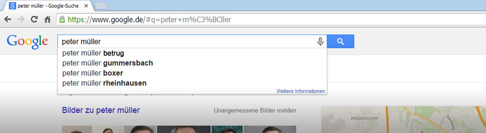 Bearbeiteter Screenshot der Suchmaschine Google