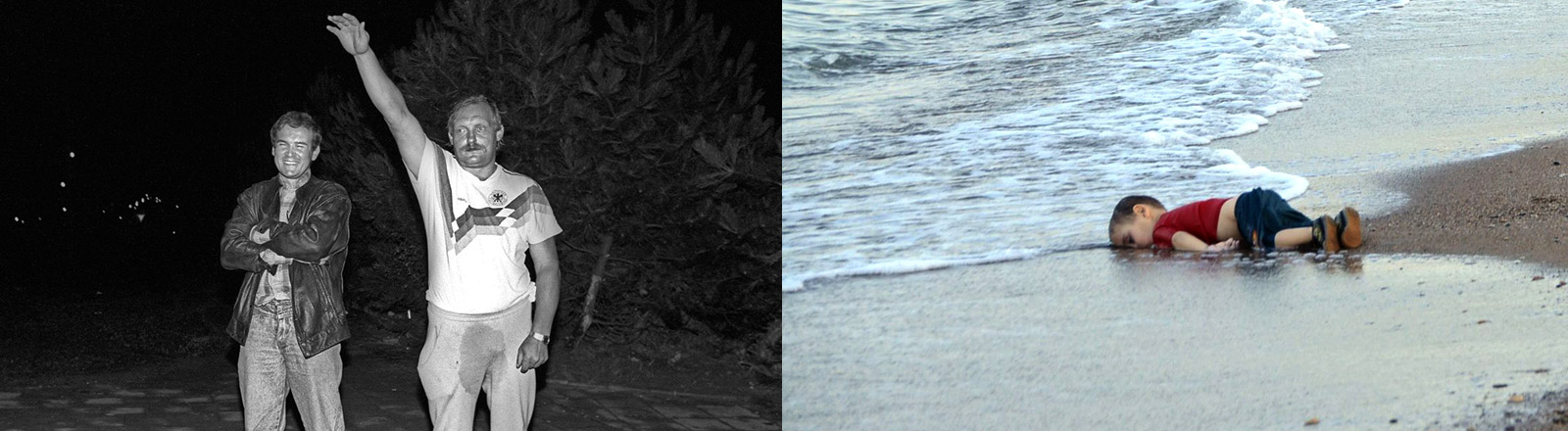 Ein Mann streckt den rechten Arm zum Hitlergruß nach oben. Ein toter Junge liegt am Strand.