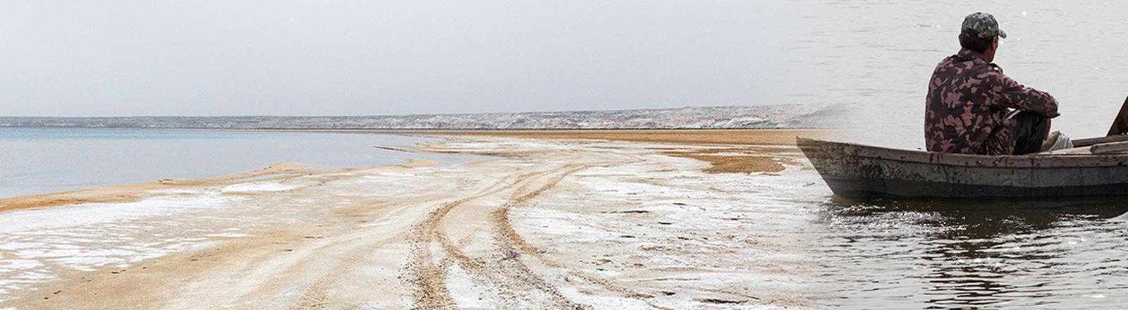 Collage: Der halbleere Strand des Aralsees, ein Fischer in einem Boot