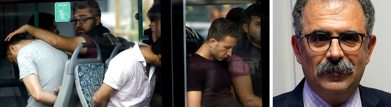 Collage: verhaftete Türken nach dem versuchten Militärputsch, daneben Professor Onur Hamzaoglu