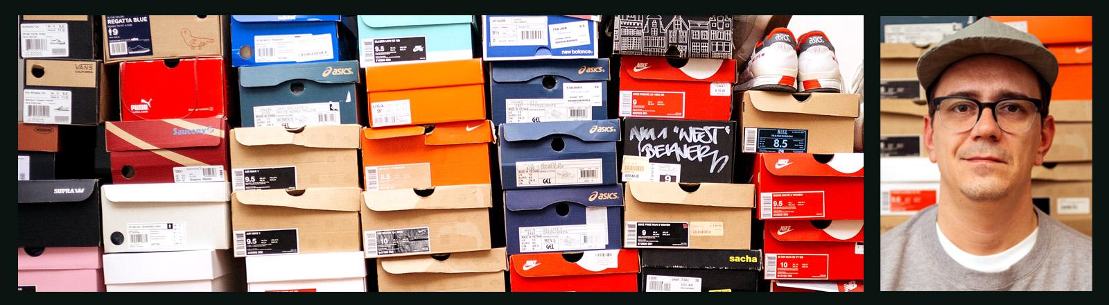 Schuhsammlung von Kay sowie Portrait von Kay