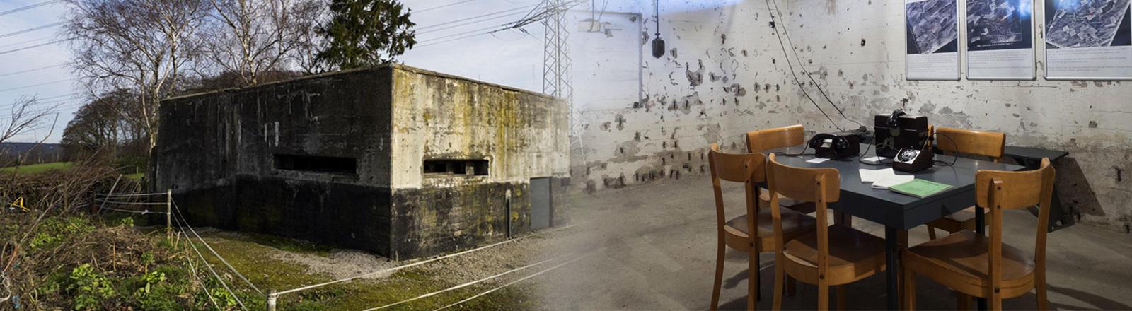 Collage: Bunker in Velbert von innen und außen