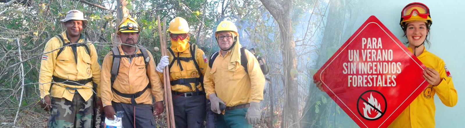 Collage: Lilian Chamai mit Feuerwehrleuten in Costa Rica