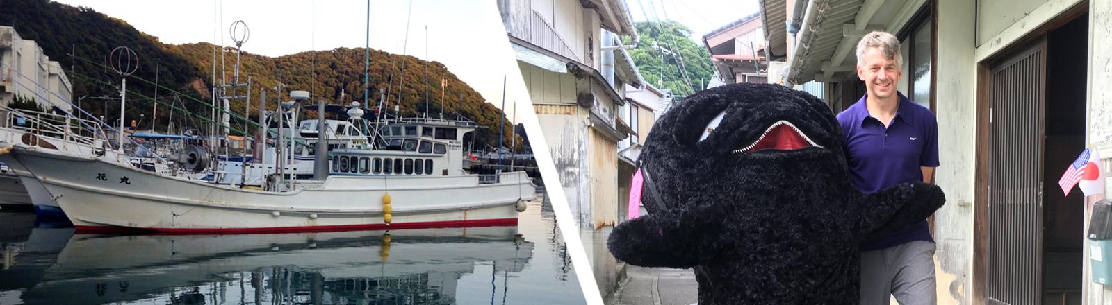Collage: Schiff in Taiji, Jay Alabaster mit Wal-Maskottchen