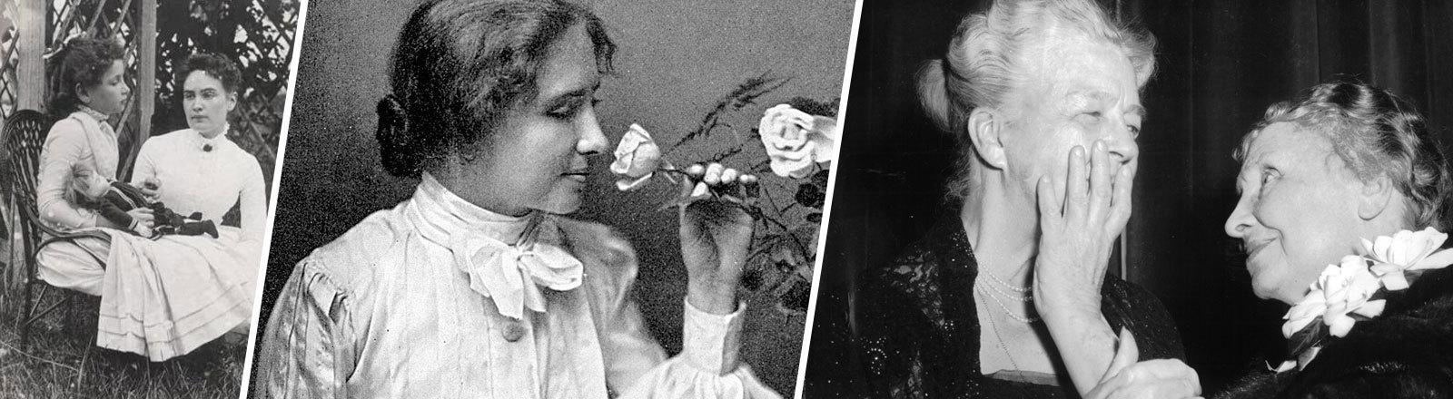 Helen Keller riecht an einer Rose