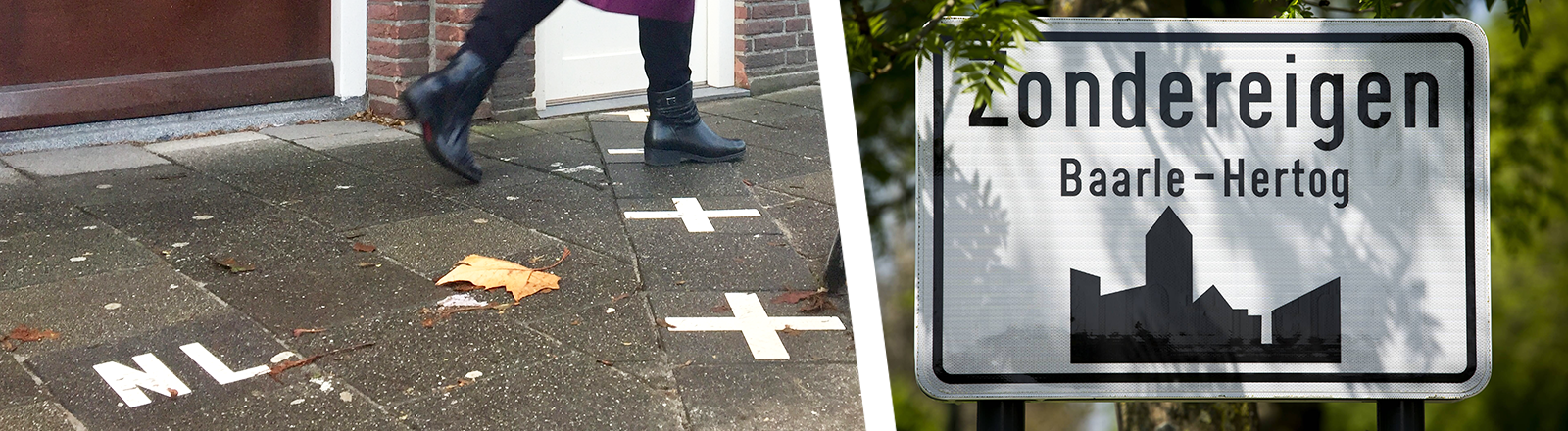 Colalge; Schuhe an Grenzmarkierung, Ortsschild Baarle