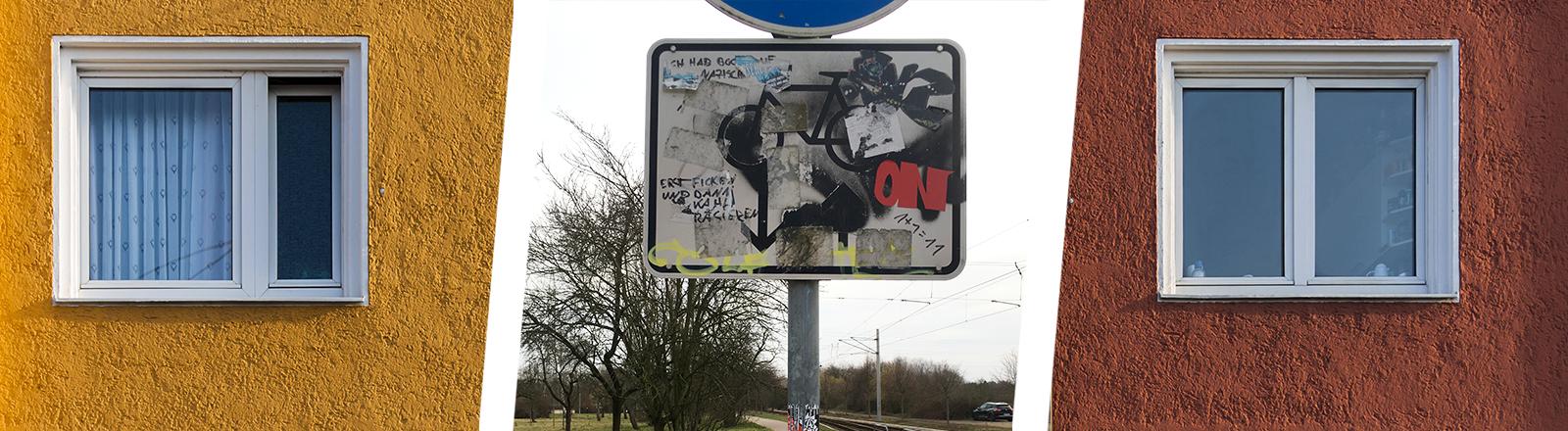 Collage: Häuserwand und beschmierte Straßenschilder